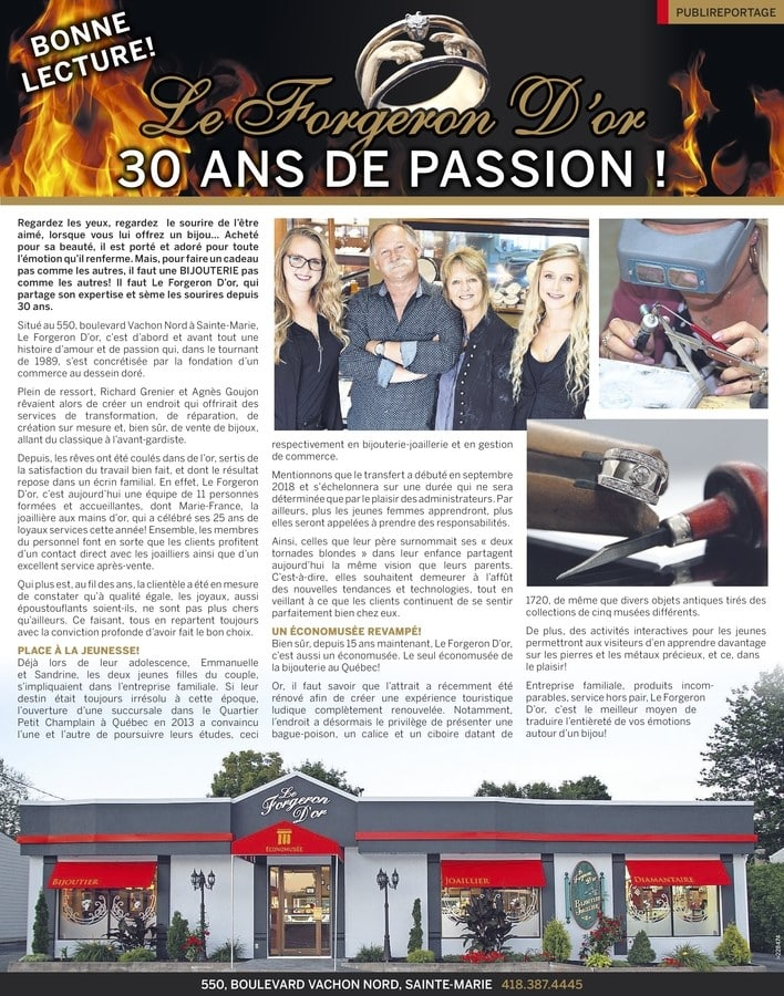 Publireportage - Forgeron D'or 30 ans de passion!